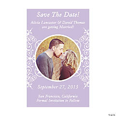 "Custom Photo Lilac Flourish ""Save the Date"" Magnets"