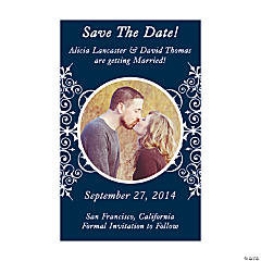 "Custom Photo Navy Blue Flourish ""Save the Date"" Magnets"