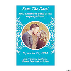 "Custom Photo Turquoise Flourish ""Save the Date"" Magnets"