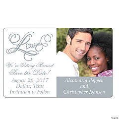 "Custom Photo Two Hearts ""Save the Date"" Magnets"