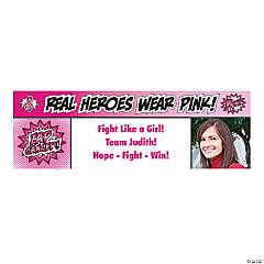 Pink Superhero Small Custom Photo Banner