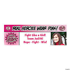 Pink Superhero Large Custom Photo Banner