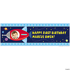 Medium 1st Birthday Rocket Party Custom Photo Banner