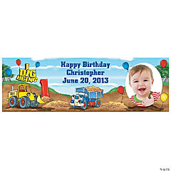 1st Birthday Construction I Dig Being 1 Medium Custom Photo Banner