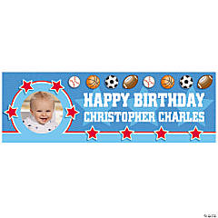 1st Birthday All Star Small Custom Photo Banner