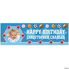 1st Birthday All Star Medium Custom Photo Banner