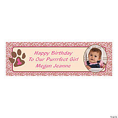 Medium 1st Birthday Cheetah Custom Photo Banner