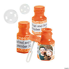 Orange Custom Photo Hexagon Bubble Bottles