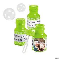 Lime Green Custom Photo Hexagon Bubble Bottles