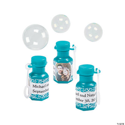 Teal Custom Photo Hexagon Bubble Bottles