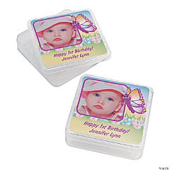 Personalized 1st Birthday Butterfly Custom Photo Square Containers
