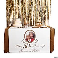 Personalized Photo 50th Anniversary Table Runner