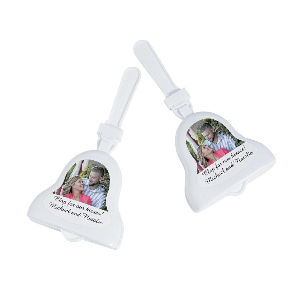 Personalized Wedding Bell Photo Clappers - Noisemakers & Hand Clappers