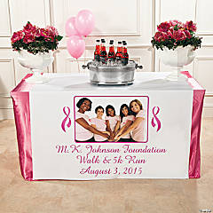 Pink Ribbon Custom Photo Table Runner