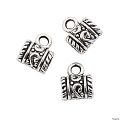 Silvertone Large Hole Barrel Charms