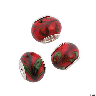 Red with Green Swirl Large Hole Glass Beads - 15mm