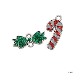 Candy Cane & Green Bow Enamel Charms - 20mm