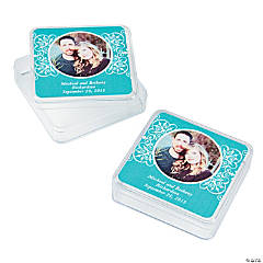 Turquoise Custom Photo Square Containers