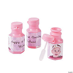 Cowgirl 1st Birthday Custom Photo Mini Bubble Bottles