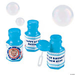1st Birthday Sailor Custom Photo Blue Bubble Bottles