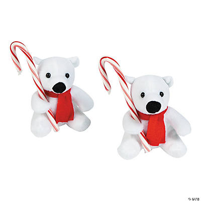 Plush Polar Bears with Candy Canes