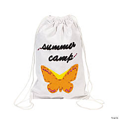 Felt Butterfly Canvas Drawstring Backpack Idea