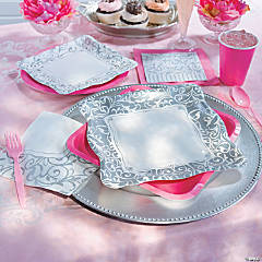 Silver Swirl Baby Shower Party Supplies