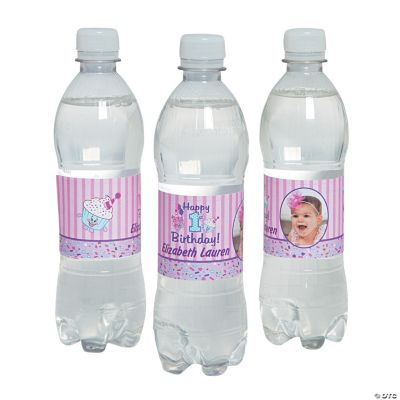 Personalized 1st Birthday Cupcake Photo Water Bottle Labels