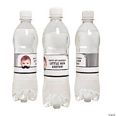 Personalized Mustache Water Bottle Labels