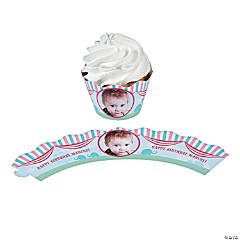 1st Birthday Circus Custom Photo Cupcake Wrappers