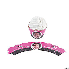 Pink Pirate Custom Photo Cupcake Wrappers