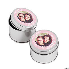 Custom Photo Light Pink Photo Metal Containers