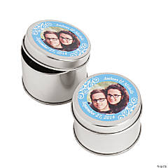 Custom Photo Light Blue Photo Metal Containers