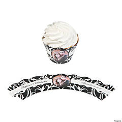 Black & White Wedding Custom Photo Cupcake Wrappers