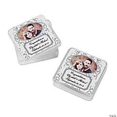Custom Photo Silver Swirl Square Containers