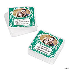 Personalized Custom Photo Emerald Swirl Square Containers