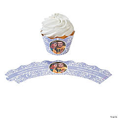 Lilac Flourish Custom Photo Cupcake Wrappers