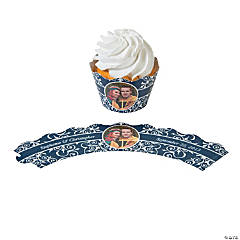 Navy Flourish Custom Photo Cupcake Wrappers