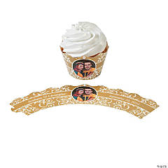 Gold Flourish Custom Photo Cupcake Wrappers