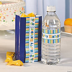 Boy Happy Birthday Water Bottle Label Idea