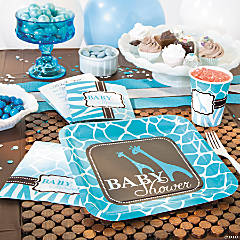 Wild Safari Blue Baby Shower Party Supplies