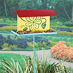 Floral Bird Feeder Yard Stake