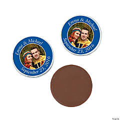 Blue Custom Photo Chocolate Coins