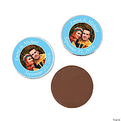 Light Blue Custom Photo Chocolate Coins
