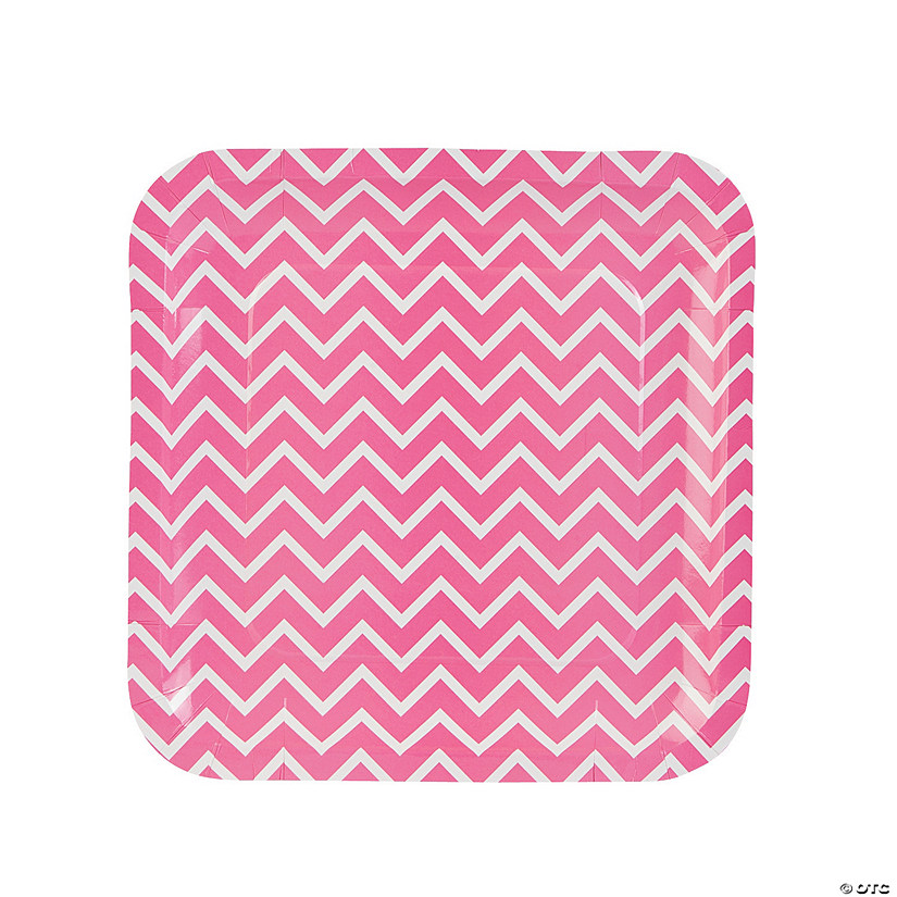 sc 1 st  Oriental Trading & Pink Chevron Paper Dinner Plates