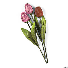 Pink Foil-Wrapped Chocolate Tulips