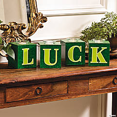 """Luck"" Block Votive Holders"