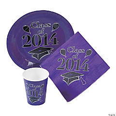Class of 2014 Purple Graduation Tableware