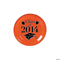 """Class of 2014"" Graduation Orange Dessert Plates"