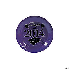 """Class of 2014"" Graduation Purple Dessert Plates"